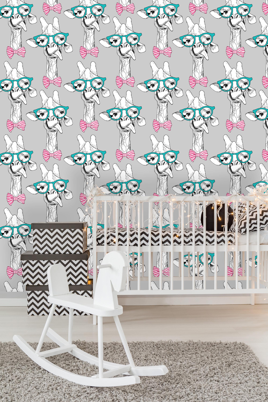 Removable Nursery Wallpaper Mural Peel & Stick Giraffes in the