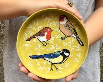 Papier-mâché tray birds