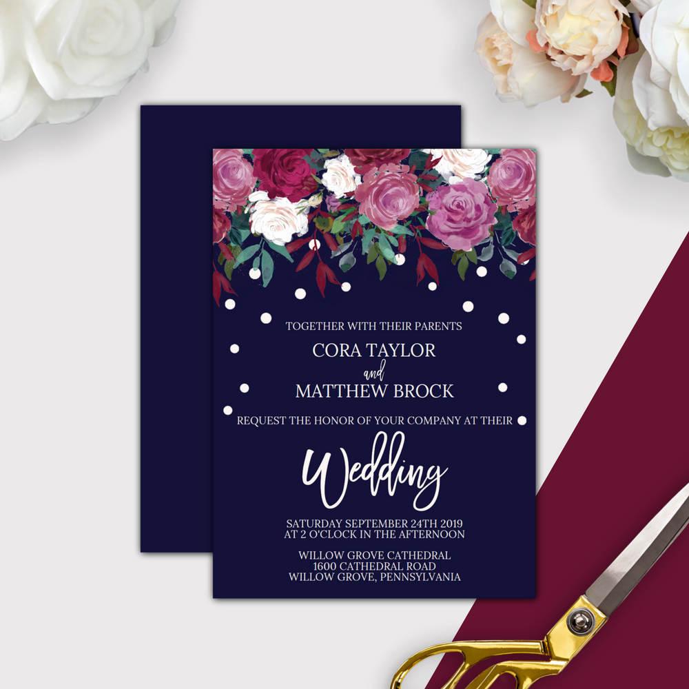 Marsala Wedding Invitation Editable PDF Template: A Printable