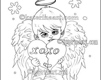 Christmas Angel Boy Instant Download Coloring Page