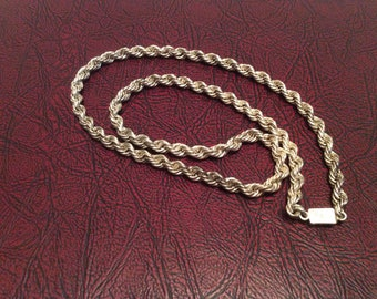 Vintage 925 Sterling Silver Rope Chain Necklace / 24 inches long