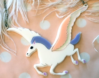 Disney Fantasia Pegasus Necklace, Laser Cut Acrylic, Plastic Jewelry