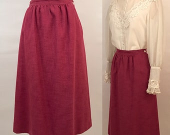 70s Magenta Midi Skirt Vintage Evan Picone Skirt