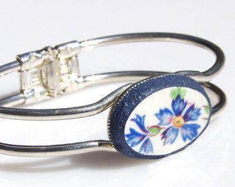 Broken China Bracelet with Blue Flowers