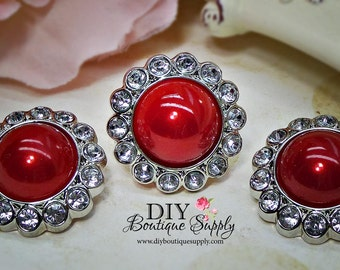 Large RED Pearl Buttons Rhinestone buttons Embellishment Pearl Flower centers Headband Supplies 5 pcs 26mm 473052