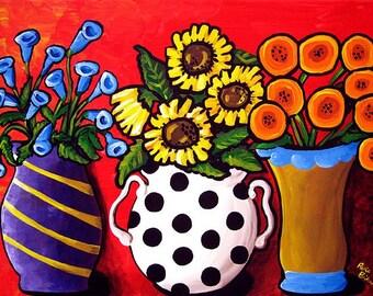 Colorful Whimsical Vases Flowers Floral Original Fun Folk Art Painting