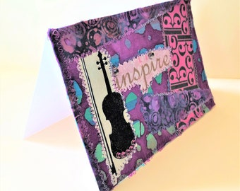 Viola card, musicians card, card for music teacher, gift for music teacher, alto clef, 4x6 fabric note card, birthday card for viola player