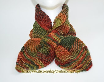 Knit Multicolor Ascot Scarf - Pull Through Keyhole, Top Trend, Stay Put, Popular Ascot Short Scarf, Christmas Gift, Winter wear, Men, Women,