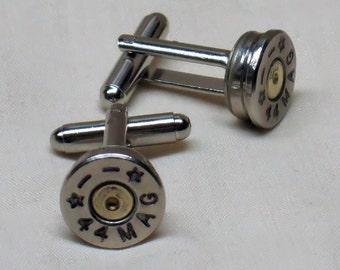Bullet Cufflinks 44 Magnum THIN Nickel Men's Wedding Gift Bullet Cuff Links