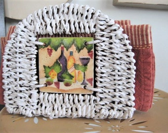 NAPKIN HOLDER for French Country, Tuscan or Farmouse Style Woven WICKER Napkin Holder / Upcycled Napkin Holder