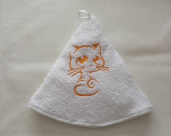 Towel embroidery yellow cat machine embroidery, made custom gift, linen, embroidered cloth, towel, kitchen