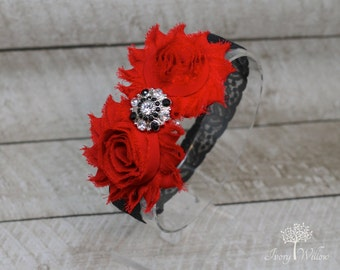 Red and Black Christmas Headband - Red and Black Headband - Valentines Day Headband - Baby Headband - Adult Headband - Black Lace Headband