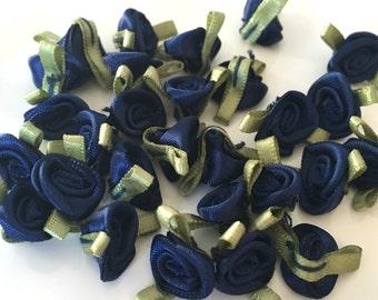 20, navy blue ribbon roses, satin ribbon roses, navy satin roses, sew on flowers, small ribbon roses, navy ribbon flowers, flower appliques