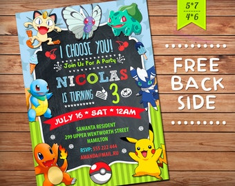 Pokemon Invitation, Pokemon Birthday Invitation, Pokemon Party, Girl Pokemon  Invitation, Boy Pokemon Invitation, Pokemon GO Theme Printables