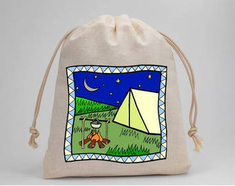 Camping, Birthday Party, Drawstring Bags, Party Bags, Muslin Bags, Candy Bags, Treat Bags, Favor Bags, 5x7, Goodie Bags