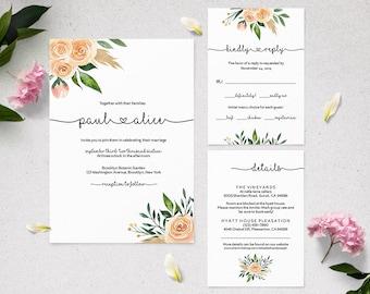 WI004 : Wedding Invitation Template, Invitation Set, Editable Wedding Invite,Vintage Wedding Invitation Printable