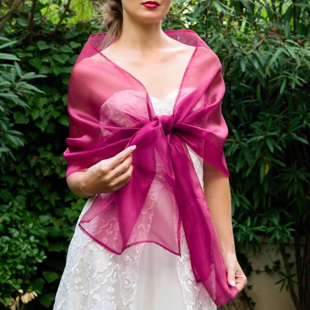 Chal organza capa bolero Fucsia Rosa Hot Pink Chal novia