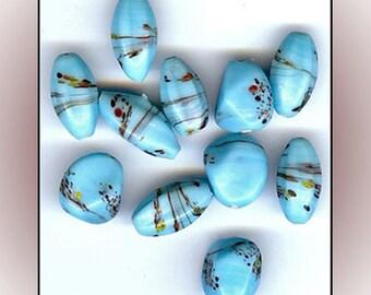 11 Vintage Porcelain Trade Beads Chunky Blue Mosaic