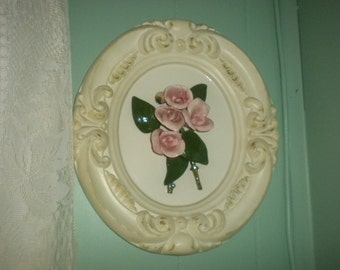 SALE....Beautiful Rose Ceramic Wall Hanging, Shabby Chic, French, French Country, Eclectic