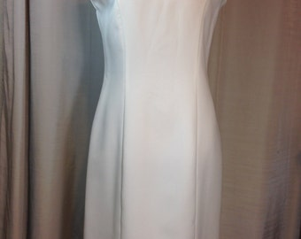 White Sleeveless Dress by Vany of New York, Made in USA, Ladies Size 10, Hand Washable Polyester Previously 24 Dollars ON SALE