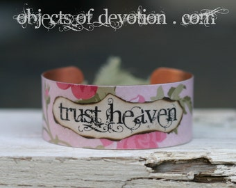 TRUST HEAVEN * Religious Jewelry * Catholic Jewelry * Religious Bracelet * Catholic Gift * Religious Gift * Catholic Bracelet * Faith Cuff *