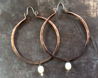 Ombré forged Pearl hoops//Copper