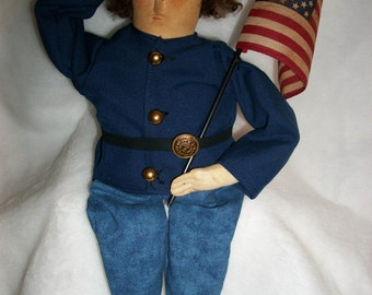 PATTERN, Primitive doll , folk art Yankee soldier doll, Original by Dumplinragamuffin,#PO86