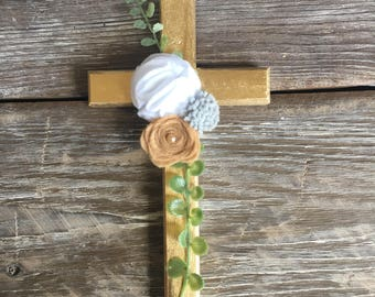 gold wood cross with felt flowers