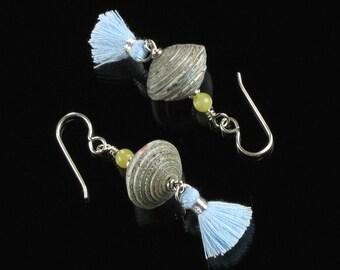 Blue Tassel Silver Earrings, Boho Dangle Paper Bead Earrings, Boho Chic Earrings Tassel Jewelry, Silver Boho Jewelry, Unique Gift for Women