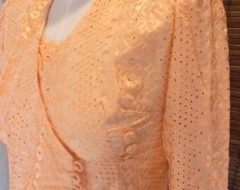 Vintage Peach Eyelit Lace Asymmetrical Asian inspired Boho Blouse S