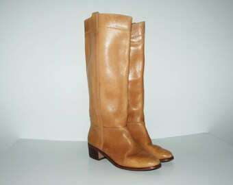 Size US 6.5 / 70s Tan Leather Riding Boots