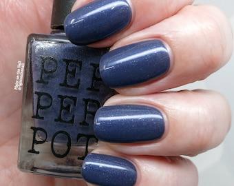 Purple Dark Navy Blue Nail Polish Silver Blue Shimmer Nail Polish Bath Beauty Paradise Awaits Gift For Her Gift Under 15 Pepper Pot Polish