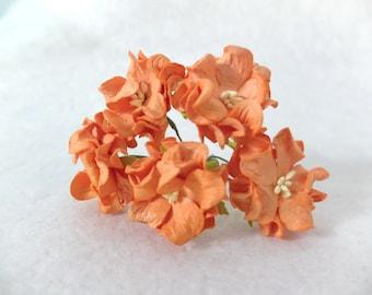 5 40mm orange paper gardenia (4 layers) - orange paper flowers with wire stems