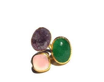 Pink Quartz, Amethyst and Jade Ring