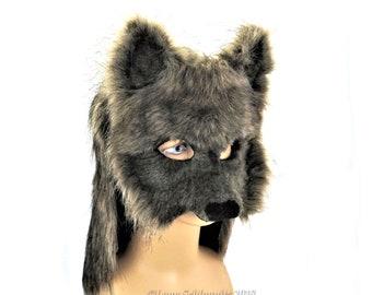 Fursuit, Wolf Mask, Leather mask, Furry, Animal mask, Fur Cowl, Fur hood, LARP,  Wolf Costume, Fursona,  Fur costume