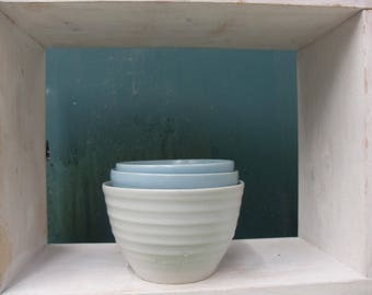 3x Smallish Bowls in 2 different shades of Blue and White Celadon glazes