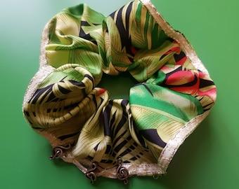 Luxury Hair Band, green-colourful satin