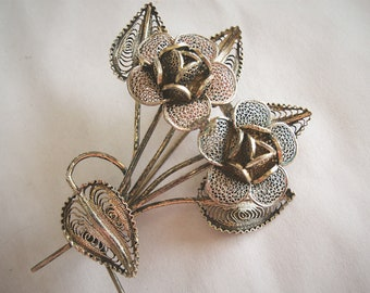 vintage 800 silver filigree flower pin brooch with gold wash accents hallmarked