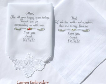Wedding Gifts, for your Parents Mom and Dad, Wedding Gift Embroidered Wedding Handkerchiefs, By Canyon Embroidery