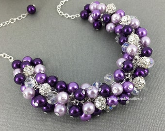 Shades of Purple Necklace Purple Necklace Purple Cluster Pearl Necklace Plum Necklace Bridesmaid Purple Necklace