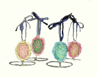 Crochet Easter Egg Ornaments.  Easter Tree Decoration. Spring Decoration. Set of 4.