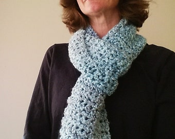 Waterfall Blue Long Scarf - Hand Made Crocheted