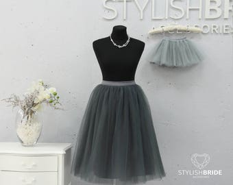 Slate&Light Gray Mother and daughter tulle skirt, Mommy and Me, Mother and Daughter Tulle Skirt Set TUTU Tulle Skirt in Gray color