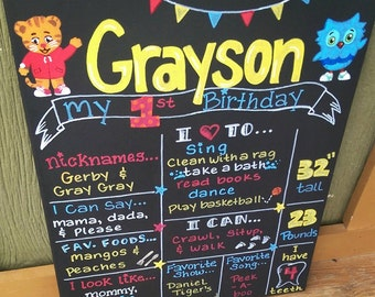 Hand Painted Daniel Tiger's Neighborhood Birthday Board on 16x20 Inch Stretched Canvas. Customize Any Way!