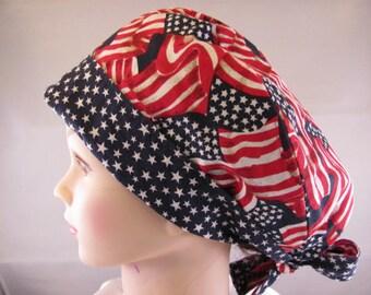 Women's Pixie Scrub Hat Stars and Stripes