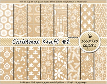 SALE Christmas Kraft digital paper Christmas digital paper printable Christmas Kraft label Christmas tag Kraft Christmas paper Kraft pattern