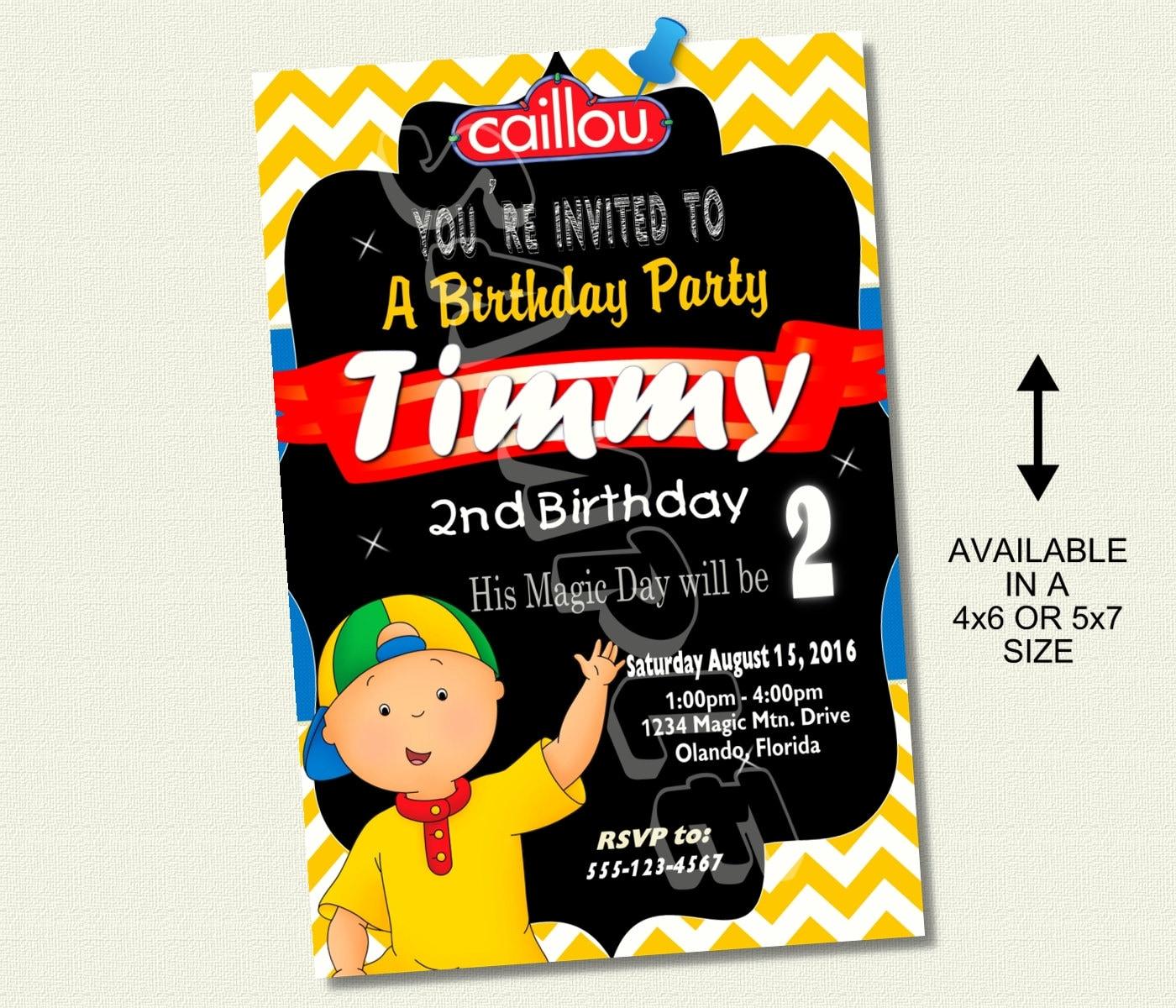 Caillou Birthday Invitation Invite Chalkboard Chevron Pattern