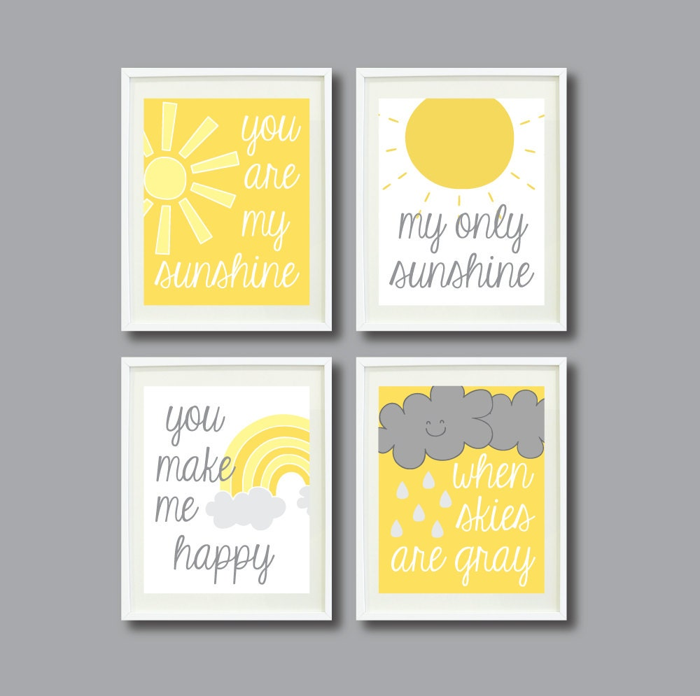 You Are My Sunshine-Set of Four Prints for Kids Room Nursery