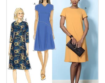 Butterick Sewing Pattern B6480 Misses' Dresses with Hip Detail, Neck and Sleeve Variations