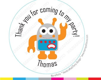 Robot Stickers, Thank you PRINTED round Stickers, tags, Labels or Envelope Seals  A958